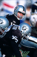 OAKLAND, CA - Quarterback Rich Gannon of the Oakland Raiders in action during a game against the San Diego Chargers at the Oakland Coliseum in Oakland, California in 2001.  Photo by Brad Mangin