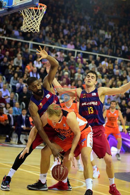 League ACB-ENDESA 2015/2016 - Game: 17.<br /> FC Barcelona Lassa vs Valencia Basket Club: 91-94.<br /> Shane Lawal,  Luke Sikma &amp; Tomas Satoransky.
