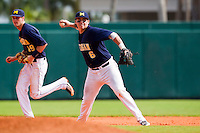 Michigan Wolverines third baseman John Lorenz #6 throws to first as Derek Dennis #19 backs up the play during a game against the Seton Hall Pirates at the Big Ten/Big East Challenge at Al Lang Stadium on February 18, 2012 in St. Petersburg, Florida.  (Mike Janes/Four Seam Images)