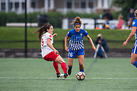 Boston, MA - Friday July 07, 2017: Stephanie McCaffrey and Angela Salem during a regular season National Women's Soccer League (NWSL) match between the Boston Breakers and the Chicago Red Stars at Jordan Field.