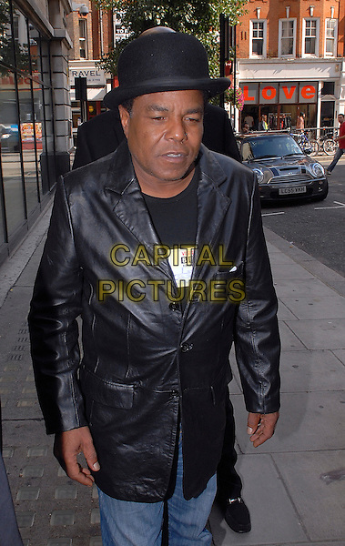 TITO JACKSON.At BBC Radio 2, London, England..September 16th, 2009.half length jeans denim black leather jacket bowler hat .CAP/IA.©Ian Allis/Capital Pictures.