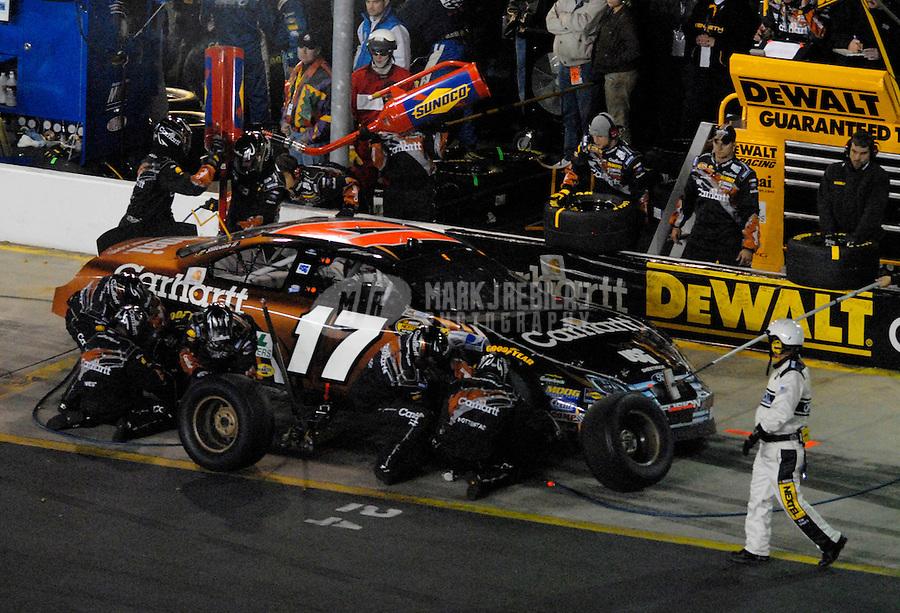 Oct 14, 2006; Concord, NC, USA; Nascar Nextel Cup driver Matt Kenseth (17) pits during the Bank of America 500 at Lowes Motor Speedway. Mandatory Credit: Mark J. Rebilas
