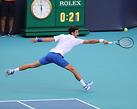 MIAMI GARDENS, FLORIDA - MARCH 24:  Novak Djokovic on Day 7 of the Miami Open Presented by Itau at Hard Rock Stadium on March 24, 2019 in Miami Gardens, Florida<br /> <br /> People: Novak Djokovic