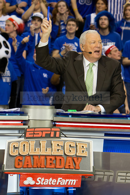 Digger Phelps chose Kentucky to win tonights game against Missouri during ESPN College Gameday in Lexington, Ky., on Saturday, February 23, 2013. Photo by Matt Burns | Staff