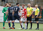 28.04.18 Hamilton v Ross County: Ross Draper argues with ref Bobby Madden at full time