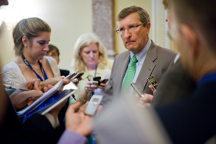 UNITED STATES - JUNE 09:  Sen. Kent Conrad, D-N.D., talks with reporters in the Capitol before a vote. (Photo By Tom Williams/Roll Call)