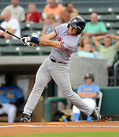 Infielder Steve Lombardozzi (4) of the Potomac Nationals in a game against the Myrtle Beach Pelicans on Aug. 7, 2010, at BB&T Coastal Field in Myrtle Beach, S.C. Photo by: Tom Priddy/Four Seam Images