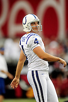 Sept. 27, 2009; Glendale, AZ, USA; Indianapolis Colts kicker (4) Adam Vinatieri against the Arizona Cardinals at University of Phoenix Stadium. Indianapolis defeated Arizona 31-10. Mandatory Credit: Mark J. Rebilas-