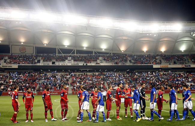Chris Detrick  |  The Salt Lake Tribune .Members of the Cruz Azul and Real Salt Lake shake hand before the start of the game at Rio Tinto Stadium Tuesday October 19, 2010.  Real Salt Lake is winning the game 1-0.