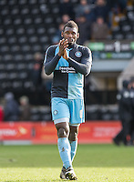 Aaron Pierre of Wycombe Wanderers applauds the support during the Sky Bet League 2 match between Notts County and Wycombe Wanderers at Meadow Lane, Nottingham, England on 28 March 2016. Photo by Andy Rowland.