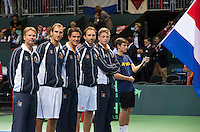 Switserland, Genève, September 19, 2015, Tennis,   Davis Cup, Switserland-Netherlands, Presentation Dutch team Ltr: Captain Jan Siemerink, Thiemo de Bakker, Jesse Huta Galung, Matwe Middelkoop and Tim van Rijthoven<br /> Photo: Tennisimages/Henk Koster