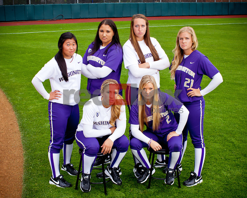 Sophomores ****** top left, Bryana Walker, Kaitlin Inglesby, Victoria Hayward, Marki Creger-Zier, Whitney Jones -- 2011-12 University of Washington Huskies softball team at Husky Softball Stadium in Seattle Wednesday, Sept. 14, 2011. (Photo by Andy Rogers/Red Box Pictures)