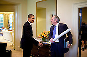 Washington, DC - May 18, 2009 -- United States President Barack Obama greets U.S. Senator Tom Harkin (Democrat of Iowa) outside the Oval Office, May 18, 2009..Credit: Pete Souza - The White House via CNP