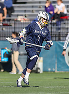 Washington, DC - February 27, 2018: Mt. St. Mary's Mountaineers Matt Haggerty (5) in action during game between Mount St. Mary's and Georgetown at  Cooper Field in Washington, DC.   (Photo by Elliott Brown/Media Images International)