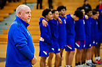 WATERBURY,  CT-011520JS16- Crosby High School boys basketball coach Nick Augelli nearing 700 career win, stands with his team for the National Anthem prior to their game against Kennedy Wednesday at Kennedy High School.<br /> Jim Shannon Republican-American