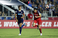 Cary, NC - Saturday April 22, 2017: Abby Erceg (left) Christine Sinclair (right) chase after a long ball during a regular season National Women's Soccer League (NWSL) match between the North Carolina Courage and the Portland Thorns FC at Sahlen's Stadium at WakeMed Soccer Park.