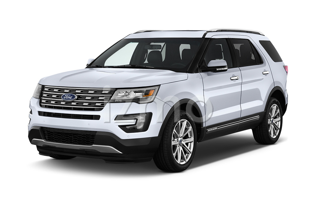 2017 Ford Explorer Limited 5 Door SUV Angular Front stock photos of front three quarter view