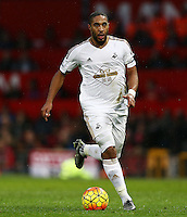 Ashley Williams of Swansea City during the Barclays Premier League match between Manchester United and Swansea City played at Old Trafford, Manchester on January 2nd 2016