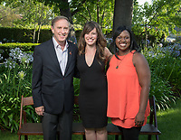 From left; Board of Governors President Charles McClintock '68, Erica J. Murray '01 Young Alumna Award for Early Achievement recipient Sara El-Amine '07, Director of Alumni and Parent Engagement Monika Moore. Occidental College alumni gathered for class reunions from June 23-25, 2017 as part of Alumni Reunion Weekend. Alums shared memories, honored the Seal Award winners and had fun dancing with Oswald!<br /> (Photo by Marc Campos, Occidental College Photographer)