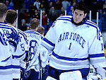 February 6, 2010:   Air Force goaltender, Andrew Volkening (1), is introduced prior to a heated match-up between #2 Denver University and Air Force at Cadet Ice Arena, U.S. Air Force Academy, Colorado Springs, Colorado.  #2 Denver defeats Air Force 2-1 in OT.