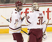 Adam Gilmour (BC - 14), Thatcher Demko (BC - 30) - The Boston College Eagles defeated the visiting Merrimack College Warriors 2-1 on Wednesday, January 21, 2015, at Kelley Rink in Conte Forum in Chestnut Hill, Massachusetts.