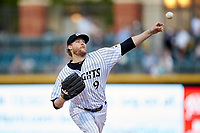 Charlotte Knights starting pitcher Ross Detwiler (9) delivers a pitch to the plate against the Rochester Red Wings at BB&T BallPark on May 14, 2019 in Charlotte, North Carolina. The Knights defeated the Red Wings 13-7. (Brian Westerholt/Four Seam Images)