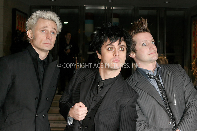 WWW.ACEPIXS.COM . . . . .  ... . . . . US SALES ONLY . . . . .....LONDON, FEBRUARY 9, 2005....Green Day at the 25th Brit Awards, Earls Court.....Please byline: FAMOUS - ACE PICTURES - F. DUVAL... . . . .  ....Ace Pictures, Inc:  ..Philip Vaughan (646) 769-0430..e-mail: info@acepixs.com..web: http://www.acepixs.com