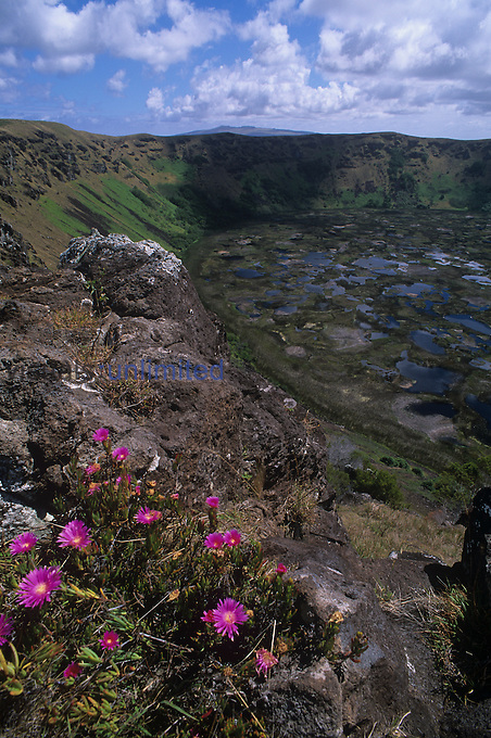 Rim of Rano Kau Crater, Easter Island, Chile.