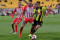 Wellington Phoenix&rsquo; Sarpreet Singh and Melbourne City&rsquo;s Bart Schenkeveld in action during the A League - Wellington Phoenix v Melbourne City FC at Westpac Stadium, Wellington, New Zealand on Saturday 26 January 2019. <br /> Photo by Masanori Udagawa. <br /> www.photowellington.photoshelter.com