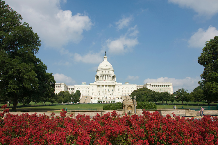 Washington DC; USA: The Capitol Building, legislative branch of the US government, with red flowers.Photo copyright Lee Foster Photo # 3-washdc83033