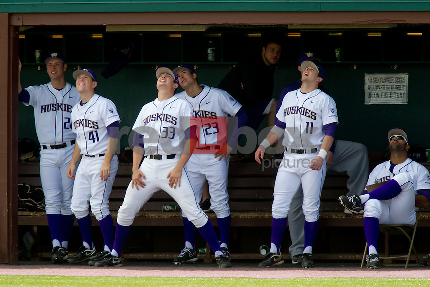 The University of Washington baseball team competes against Gonzaga University at Husky Ballpark  in Seattle, Wash. on Tuesday April 10, 2012.(Photo by Scott Eklund /Red Box Pictures) Andrew Ely. .Will Sparks. Jacob Coats. Chase Anselment.