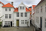 Historic wooden houses in Bekketomten street, Nordnes district, Bergen, Norway