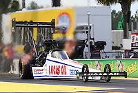 Mar 13, 2015; Gainesville, FL, USA; NHRA top fuel driver Richie Crampton during qualifying for the Gatornationals at Auto Plus Raceway at Gainesville. Mandatory Credit: Mark J. Rebilas-