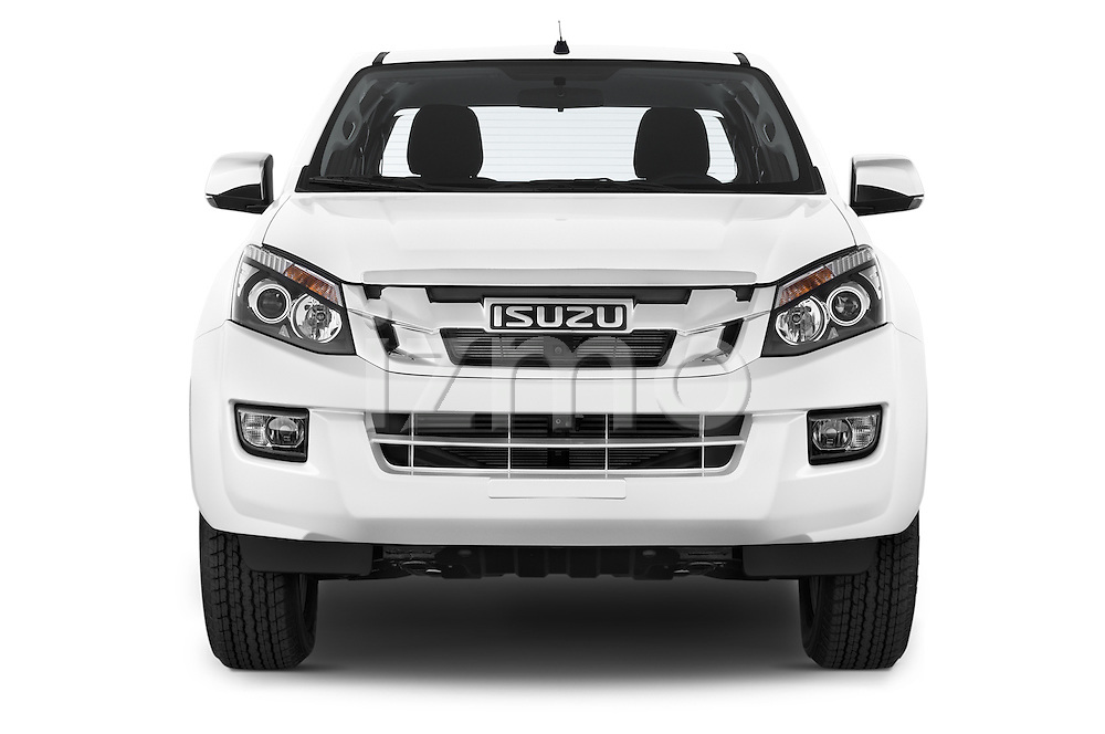 Car photography straight front view of a 2015 Isuzu D-Max L+ 4 Door Pickup 2WD Front View