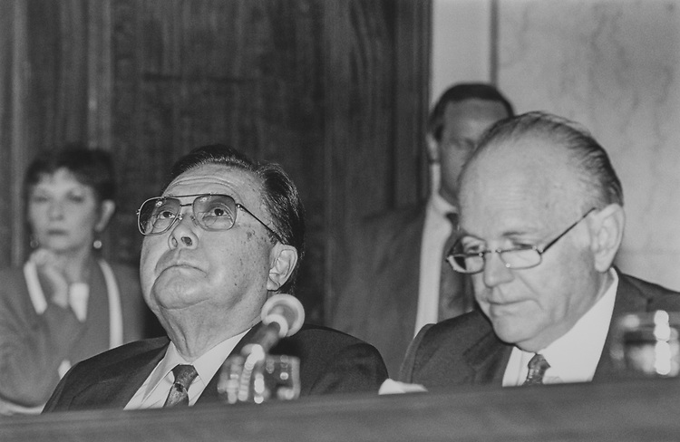 Sen. Daniel Inouye, D-Hawaii, and Sen. Dennis DeConcini, D-Ariz., during Senate Rules Committee Hearing, on June 9, 1994. (Photo by Maureen Keating/CQ Roll Call via Getty Images)