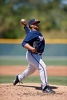 Atlanta Braves pitcher Miguel Jerez (20) during a minor league Spring Training game against the Pittsburgh Pirates on March 13, 2018 at Pirate City in Bradenton, Florida.  (Mike Janes/Four Seam Images)