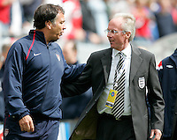 USA's Bruce Arena congatulates Englands Sven-Goran Eriksson after the match at Soldier Field, Friday, May 28, 2004, in Chicago, IL. England won 2-1.