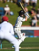 1st December 2017, Basin Reserve, Wellington, New Zealand; International Test Cricket, Day 1, New Zealand versus West Indies;  Kane Williamson plays the ball straight to Hope off the bowling of Roach