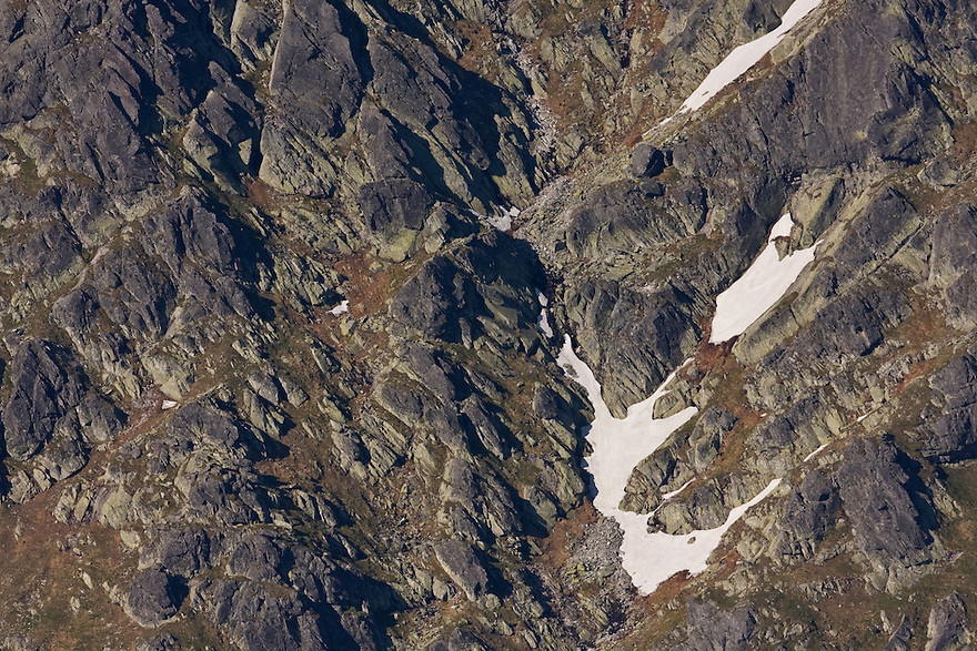 Particular of granite rocks and snow fields on mountain slope. High Tatras, Slovakia. June 2009. Mission: Ticha