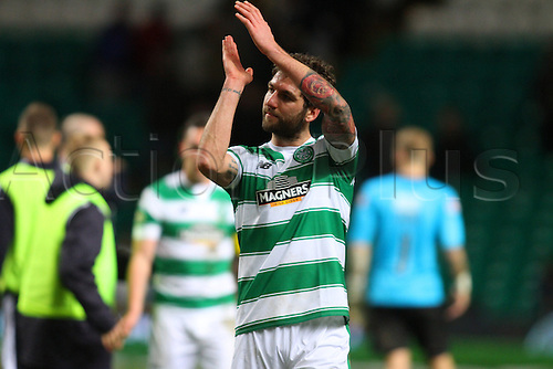 02.03.2016. Celtic Park, Glasgow, Scotland. Scottish Premier League. Celtic versus Dundee. Charlie Mulgrew applauds the fans
