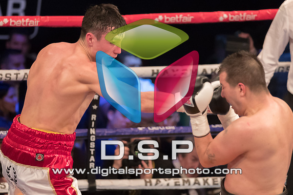 Dean Richardson vs Jan Balog 4 x 3 light Heavyweight Contest During Hayemaker Boxing: Ringstar Fight Night. Photo by: Simon Downing.<br /> <br /> Friday February 16th 2018 - York Hall, Bethnal Green, London, United Kingdom.