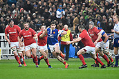 February 1st 2019, St Denis, Paris, France: 6 Nations rugby tournament, France versus Wales;  Damian Penaud (fr) tries to break tackles as he looks for an open field run