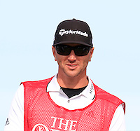 Dustin Johnson (USA) caddy Austin Johnson on the 15th tee during Thursday's Round 1 of the 145th Open Championship held at Royal Troon Golf Club, Troon, Ayreshire, Scotland. 14th July 2016.<br /> Picture: Eoin Clarke | Golffile<br /> <br /> <br /> All photos usage must carry mandatory copyright credit (&copy; Golffile | Eoin Clarke)