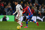 Sheffield United's Lys Mousset and Crystal Palace's Wilfried Zaha challenge for the ball during the Premier League match at Selhurst Park, London. Picture date: 1st February 2020. Picture credit should read: Paul Terry/Sportimage