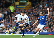 9th September 2017, Goodison Park, Liverpool, England; EPL Premier League Football, Everton versus Tottenham; Juan Foyth of Tottenham plays a pass as Leighton Baines of Everton chases him down