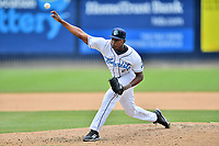 Asheville Tourists pitcher Raymells Rosa (21) delivers a pitch during a game against the Columbia Fireflies at McCormick Field on June 23, 2019 in Asheville, North Carolina. The Fireflies defeated the Tourists 11-9. (Tony Farlow/Four Seam Images)