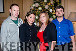 Christmas socialising<br /> -----------------------------<br /> Enjoying the Dairymaster staff party in the Ballygarry house hotel last Saturday night were L-R John Gleeson, Catherine&amp;Eileen Cunningham with Mark Griffin.