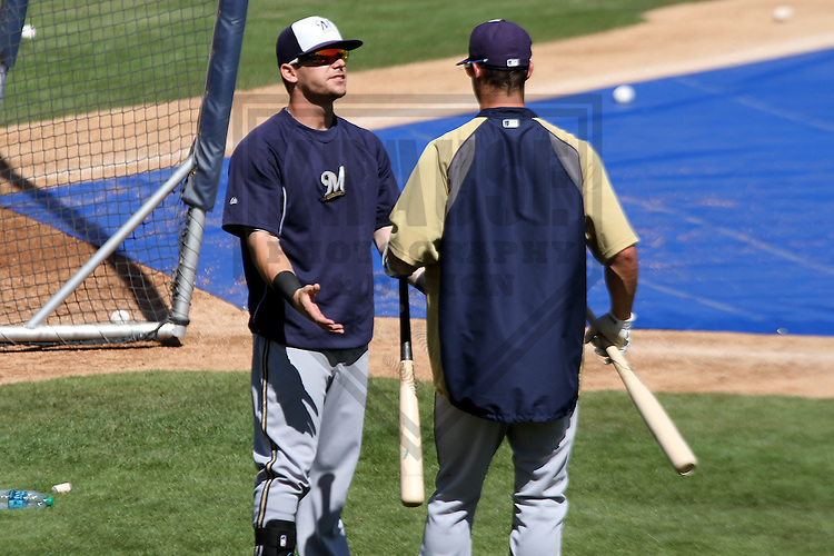 MARYVALE - March 2014: Scooter Gennett and Logan Schafer of the Milwaukee Brewers during a spring training workout on March 19th, 2014 at Maryvale Baseball Park in Maryvale, Arizona.  (Photo Credit: Brad Krause)