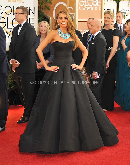 WWW.ACEPIXS.COM<br /> <br /> January 12 2014, LA<br /> <br /> Sofia Vergara arriving at the 71st Annual Golden Globe Awards held at The Beverly Hilton Hotel on January 12, 2014 in Beverly Hills, California<br /> <br /> By Line: Peter West/ACE Pictures<br /> <br /> <br /> ACE Pictures, Inc.<br /> tel: 646 769 0430<br /> Email: info@acepixs.com<br /> www.acepixs.com
