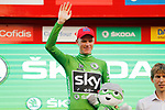 Race leader Christopher Froome (GBR) Team Sky also retains the points Green Jersey on the podium at the end of Stage 16 of the 2017 La Vuelta, an individual time trial running 40.2km from Circuito de Navarra to Logro&ntilde;o, Spain. 5th September 2017.<br /> Picture: Unipublic/&copy;photogomezsport | Cyclefile<br /> <br /> <br /> All photos usage must carry mandatory copyright credit (&copy; Cyclefile | Unipublic/&copy;photogomezsport)